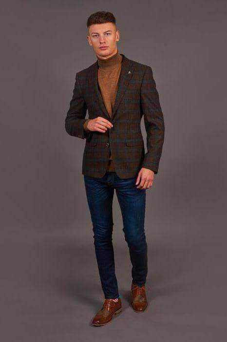 Herbie Frogg Rust And Grey Wool Check Blazer