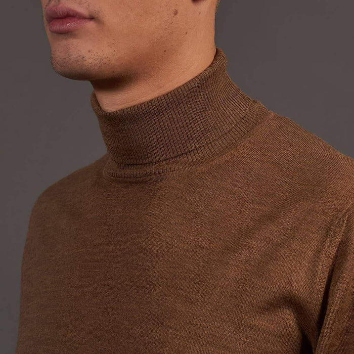 Herbie Frogg Tan Roll Neck Wool Sweater