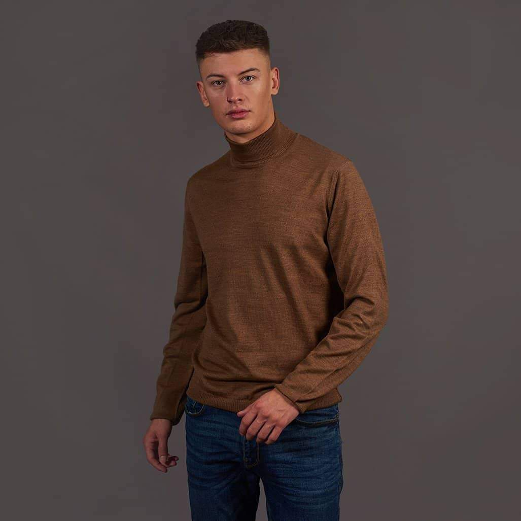 Herbie Frogg Tan Roll Neck Wool Sweater S - 36 / Tan