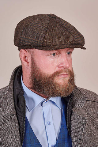 Heritage Traditions Heritage Traditions Brown Patchwork Newsboy Cap £14.99