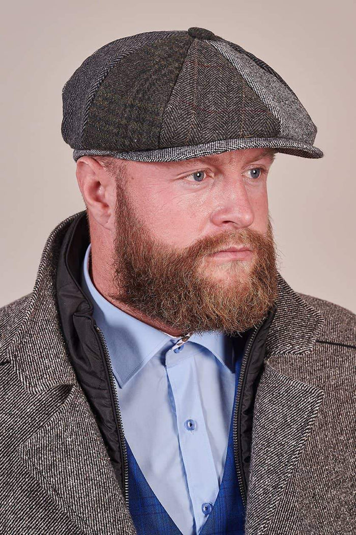 Heritage Traditions Grey Patchwork Newsboy Cap