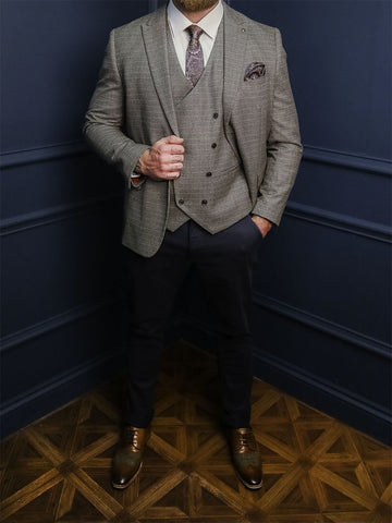 Holmes Smart Casual Look marc-darcy-jenson-marine-navy-check-blazer / marc-darcy-jenson-marine-navy-check-double-breasted-waistcoat / marc-darcy-jenson-marine-navy-check-trousers