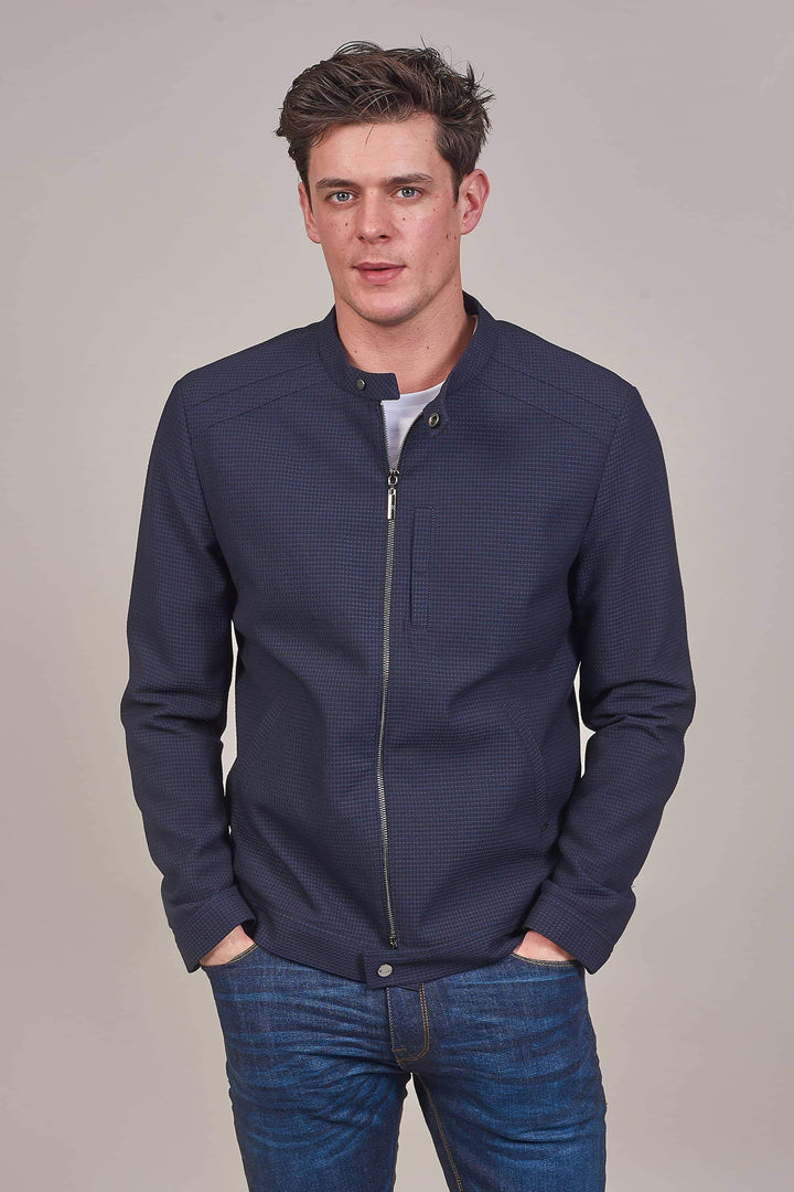 Honeycomb Bomber Casual Outfit cavani-navy-honeycomb-bomber-jacket / marc-darcy-white-grandad-shirt-with-contrast-buttons / dml-mid-wash-skinny-fit-jeans