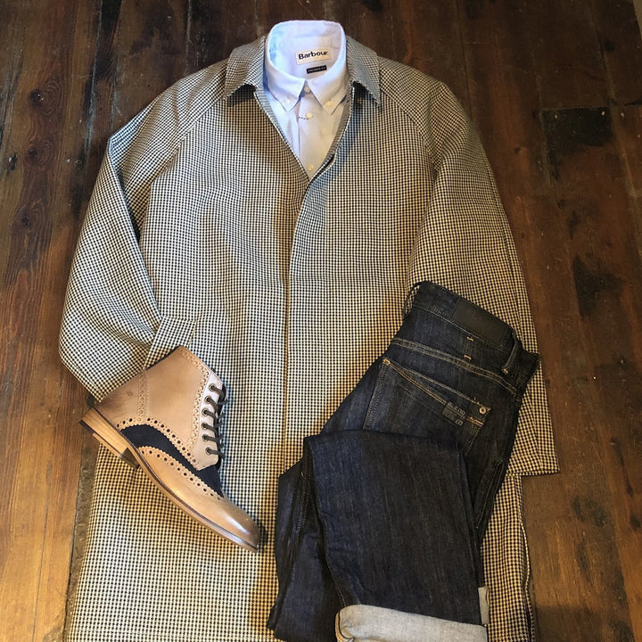 Houndstooth mac & jeans casual barbour-mortan-inky-blue-overshirt / barbour-sandwood-pink-cotton-check-shirt / blend-granite-chinos