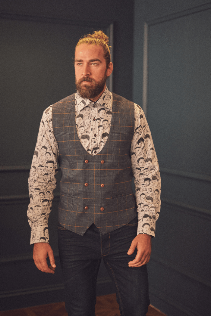 Jenson with Claudio Boxer Faces Shirt marc-darcy-jenson-marine-navy-check-double-breasted-waistcoat / claudio-lugli-white-boxing-legends-shirt / blend-dark-wash-jeans