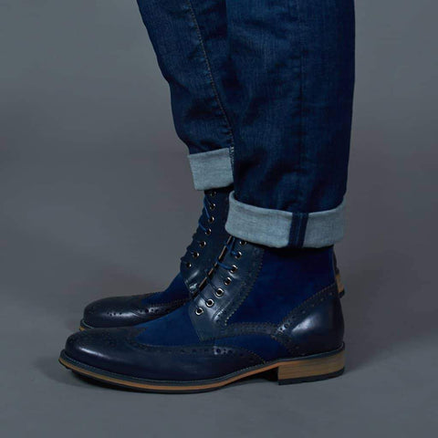 Justin Reece Brogue Contrast Boots - Navy & Blue 7 / Navy