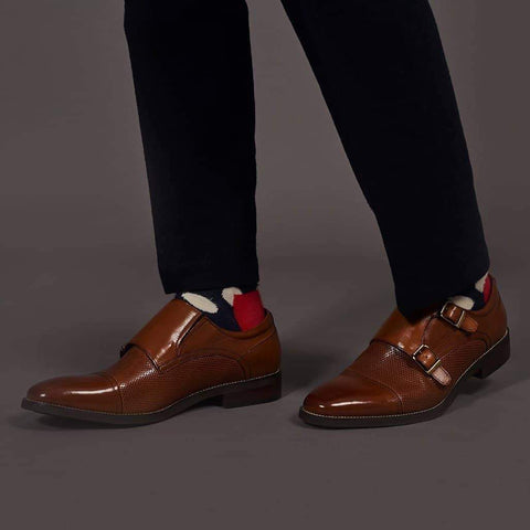 Justin Reece Brown Monkstrap Shoe 6
