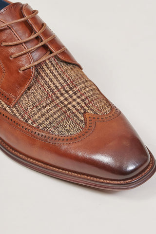 Justin Reece Curtis Derby With Tweed Contrast In Brown