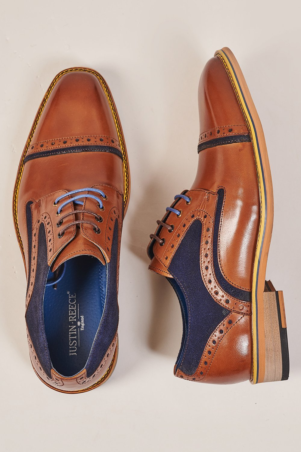 Justin Reece Dennis Toe Cap Derby Shoe - Brown Leather & Navy Suede
