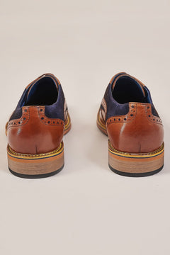 Justin Reece Justin Reece Dennis Toe Cap Derby Shoe - Brown Leather & Navy Suede £79.00
