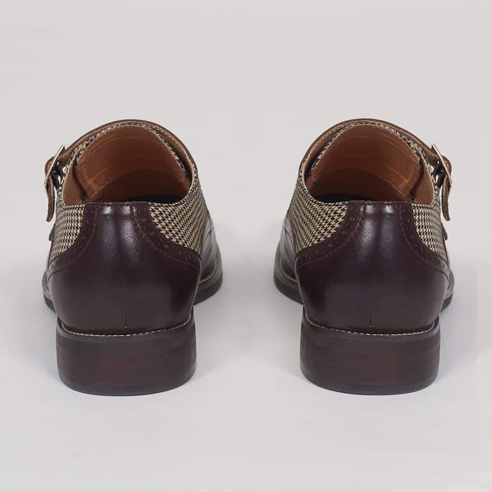 Justin Reece Gabby Coffee Monk Strap Shoes