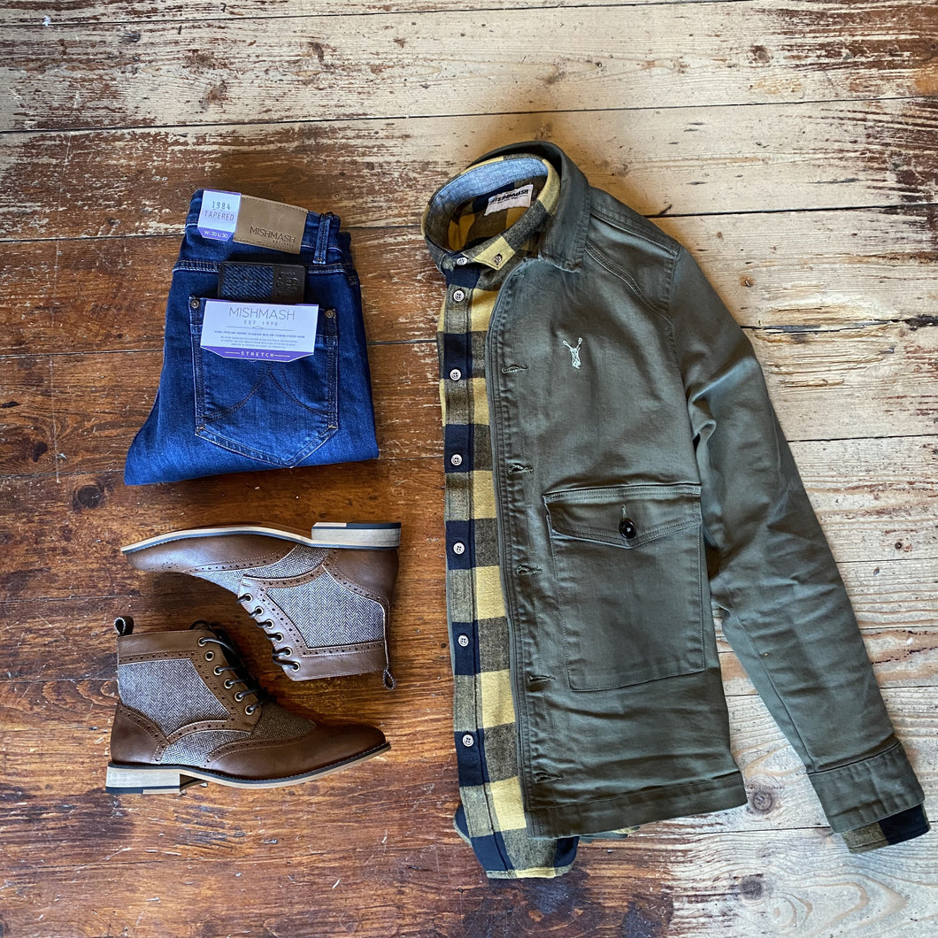 Khaki Utility Jacket Casual Look pearly-king-weld-utility-jacket-khaki / mish-mash-mustard-check-flannel-shirt / mish-mash-1984-mustang-dark-wash-tapered-fit-jeans
