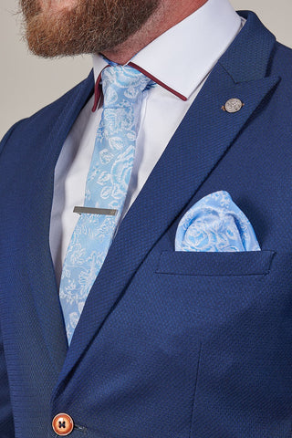 Knightsbridge Neckwear Blue Floral Silk Pocket Square