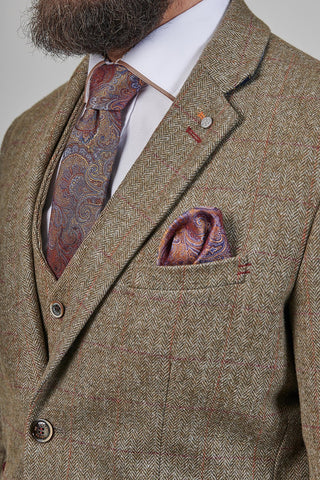 Knightsbridge Neckwear Bronze Blue Paisley Silk Pocket Square