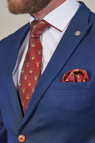 Knightsbridge Neckwear Burgundy Stag Silk Pocket Square