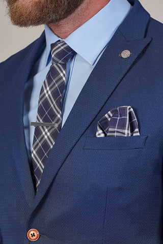 Knightsbridge Neckwear Navy Check Cotton Pocket Square
