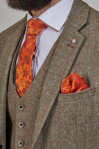 Knightsbridge Neckwear Knightsbridge Neckwear Orange Floral Silk Pocket Square £14.99