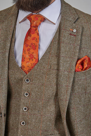 Knightsbridge Neckwear Orange Floral Silk Tie