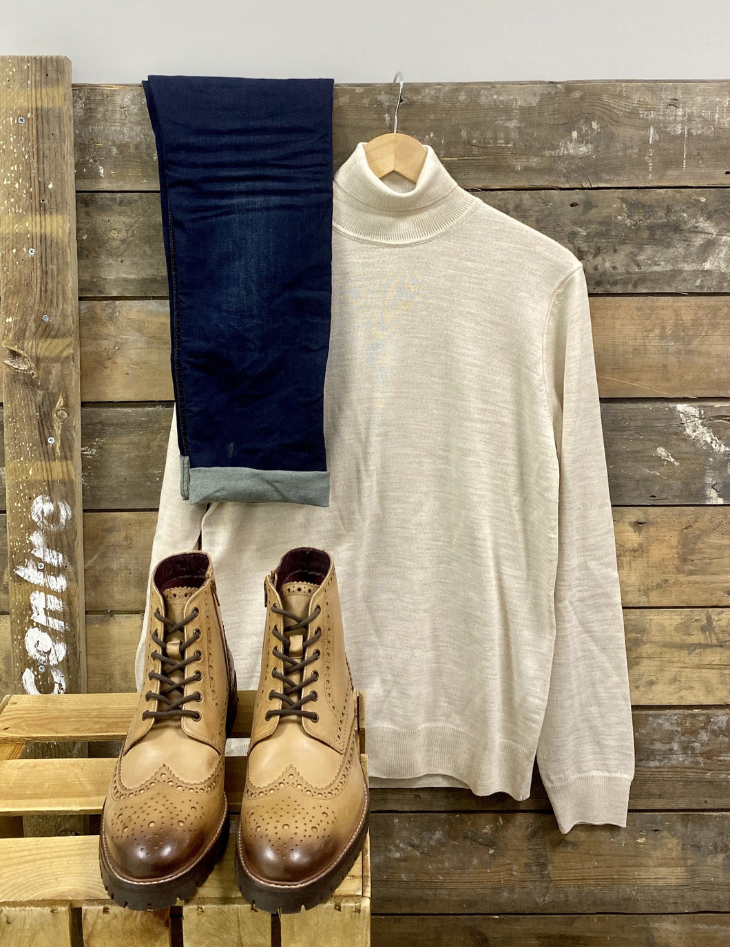 Knit Weekend Casual Look casual-friday-sand-wool-roll-neck / blend-dark-wash-jeans / london-brogues-billy-tan-brogue-boots