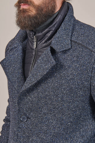 Lavard Blue Wool Overcoat With Gilet Insert