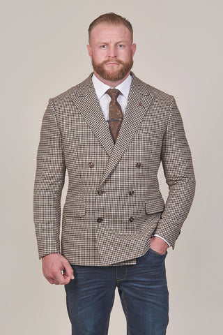 Lavard Lavard Brown Tweed Check Double Breasted Blazer £179.99