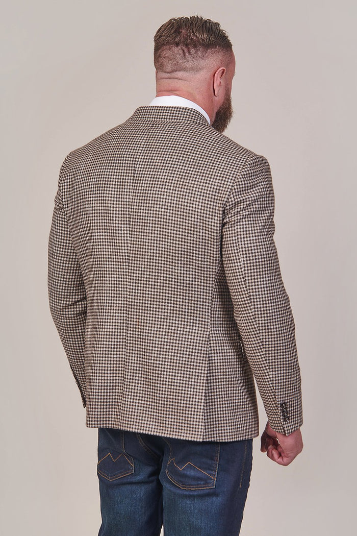 Lavard Brown Tweed Check Double Breasted Blazer