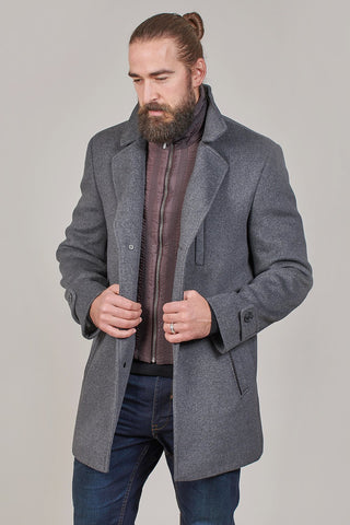 Lavard Lavard Grey Wool Mix Overcoat With Gilet Insert £149.99