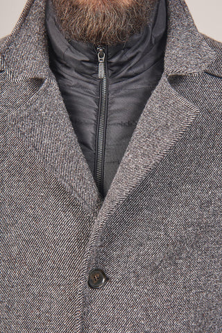 Lavard Lavard Grey Wool Overcoat With Gilet Insert £110.00