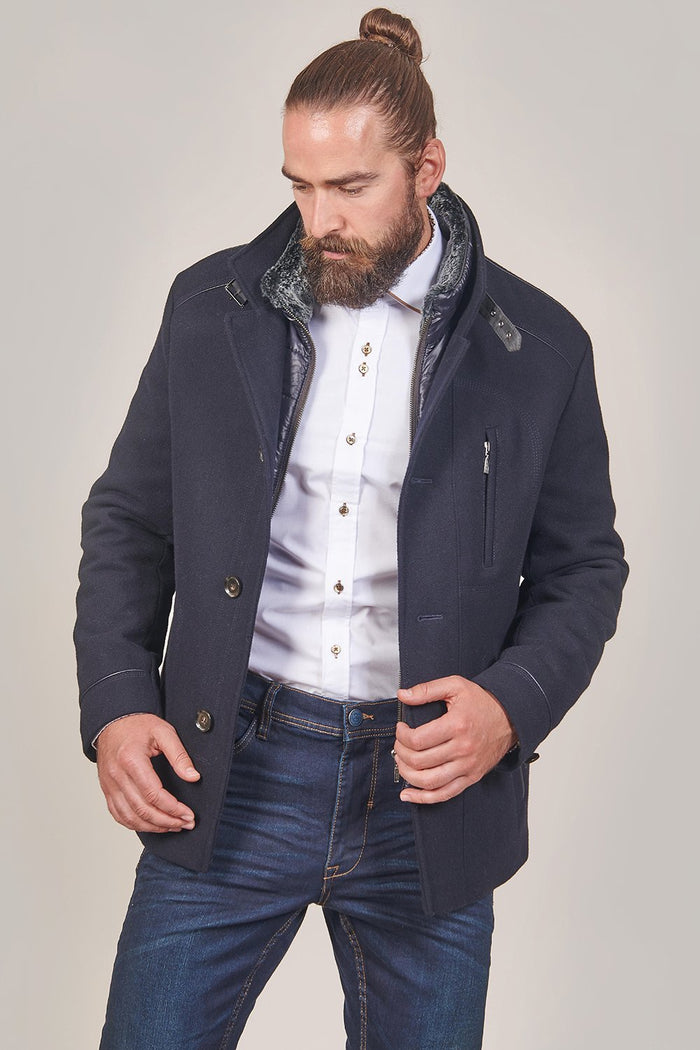 Lavard Navy Single Breasted Wool Peacoat With Gilet Insert