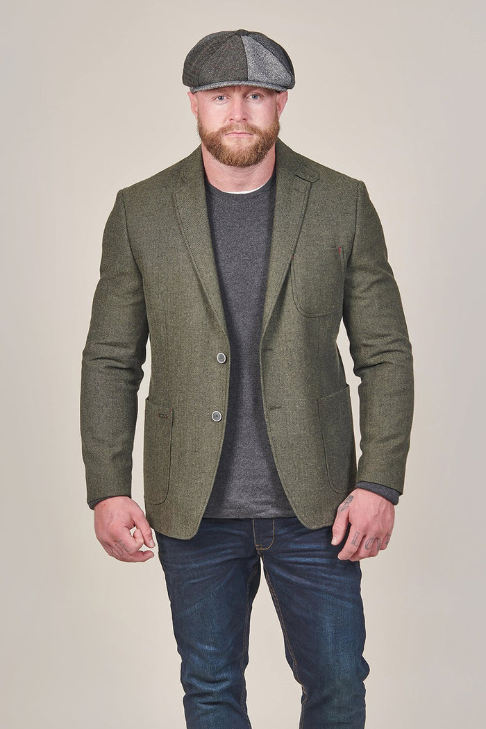 Lavard Olive Tweed Herringbone Blazer With Gilet Insert