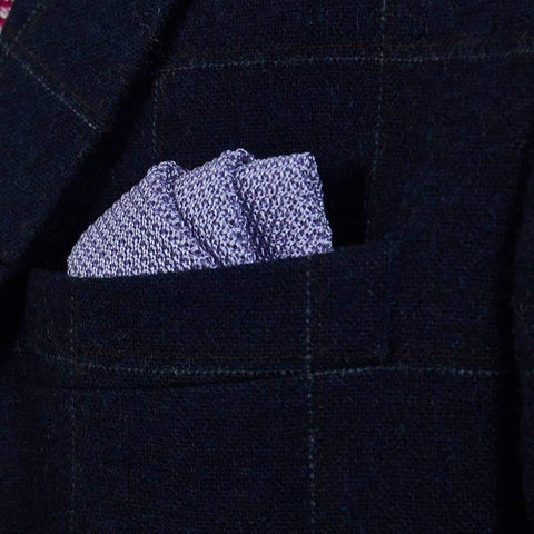 Lavender Purple Knitted Silk Pocket Square