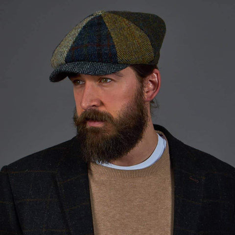 Lewis Bakerboy 8-Piece Harris Tweed Herringbone Hat - Multicoloured Panels 57cm