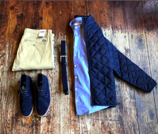 Light Layers Look blend-quilted-navy-jacket / blend-sand-brown-chinos / casual-friday-cotton-sky-blue-grandad-shirt