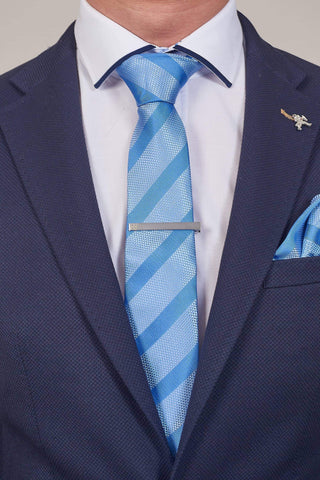 Light Stripe Blue Tie, Pocket Square, Tie Clip & Cuff link Set Light Blue