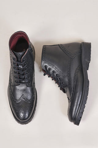 London Brogues Billy Black Brogue Boots 7