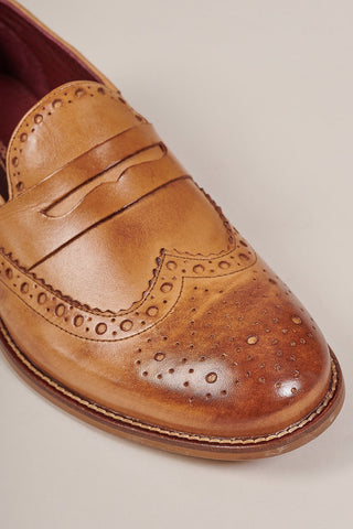 London Brogues Carson Tan Leather Brogue Slip On