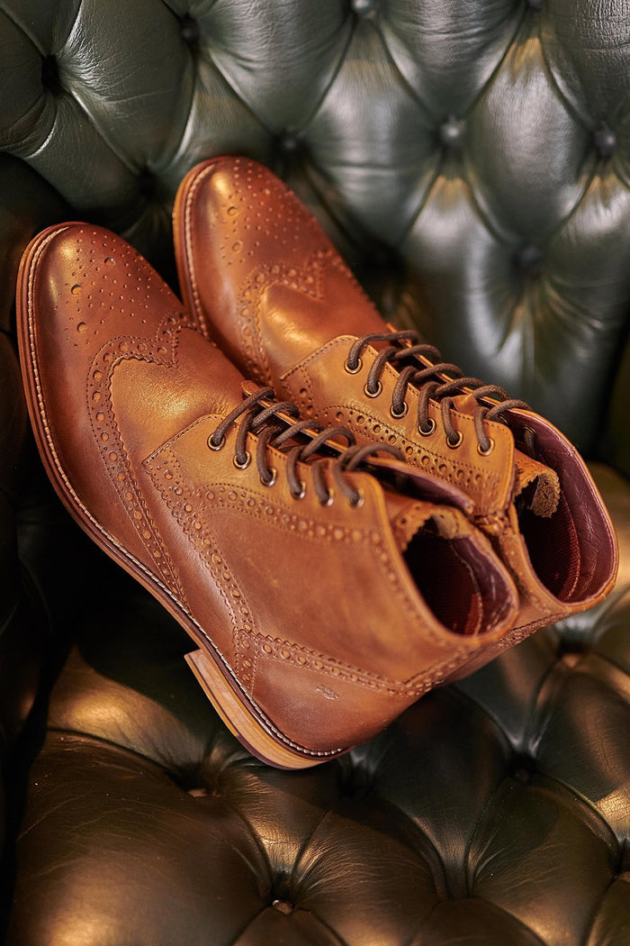 London Brogues London Brogues Gatsby Chestnut Leather Hi Brogue Boots £85.00