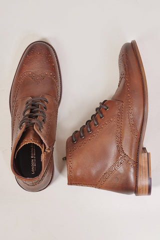 London Brogues Gatsby Chestnut Leather Hi Brogue Boots 7