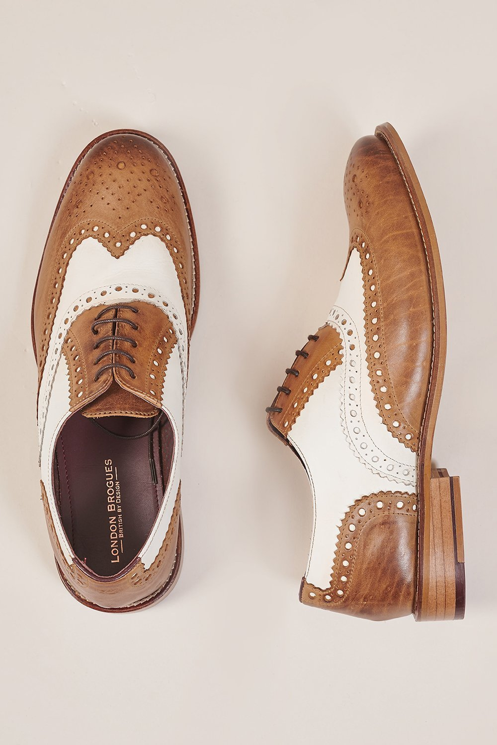 London Brogues Gatsby Leather Brogue Tan/White