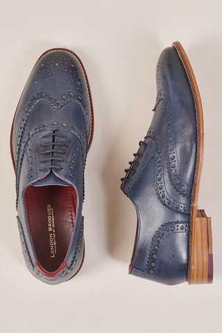 London Brogues Gatsby Navy Brogue Shoe