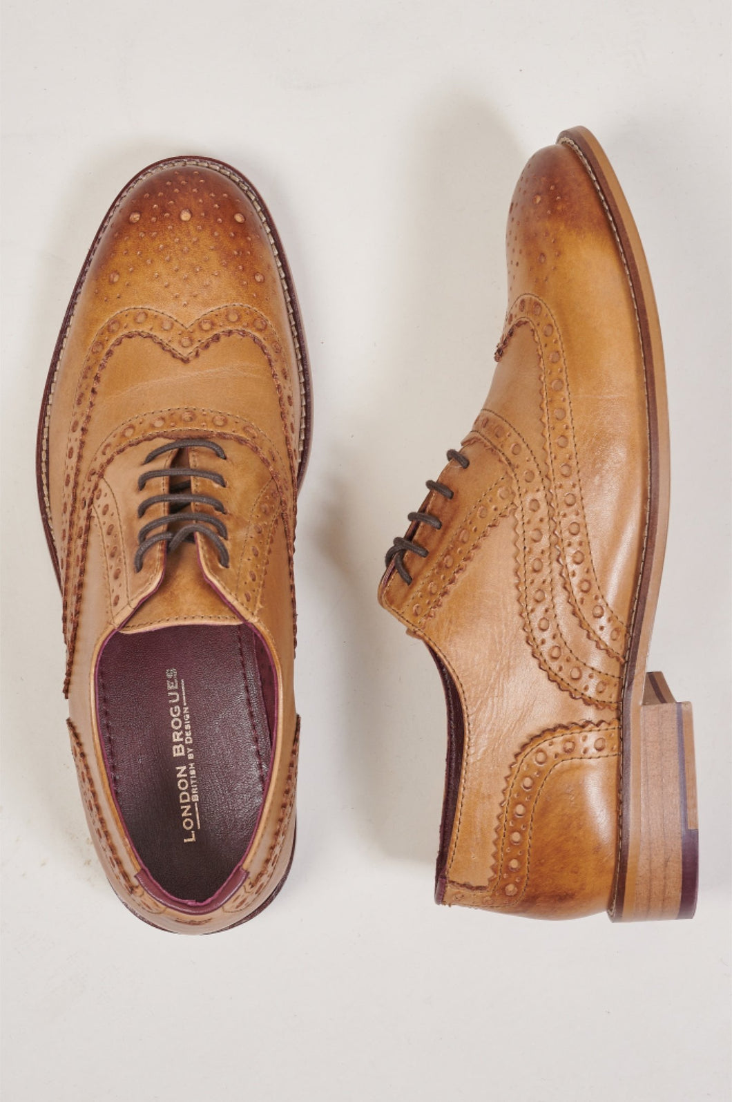 London Brogues Gatsby Tan Brogue Shoe