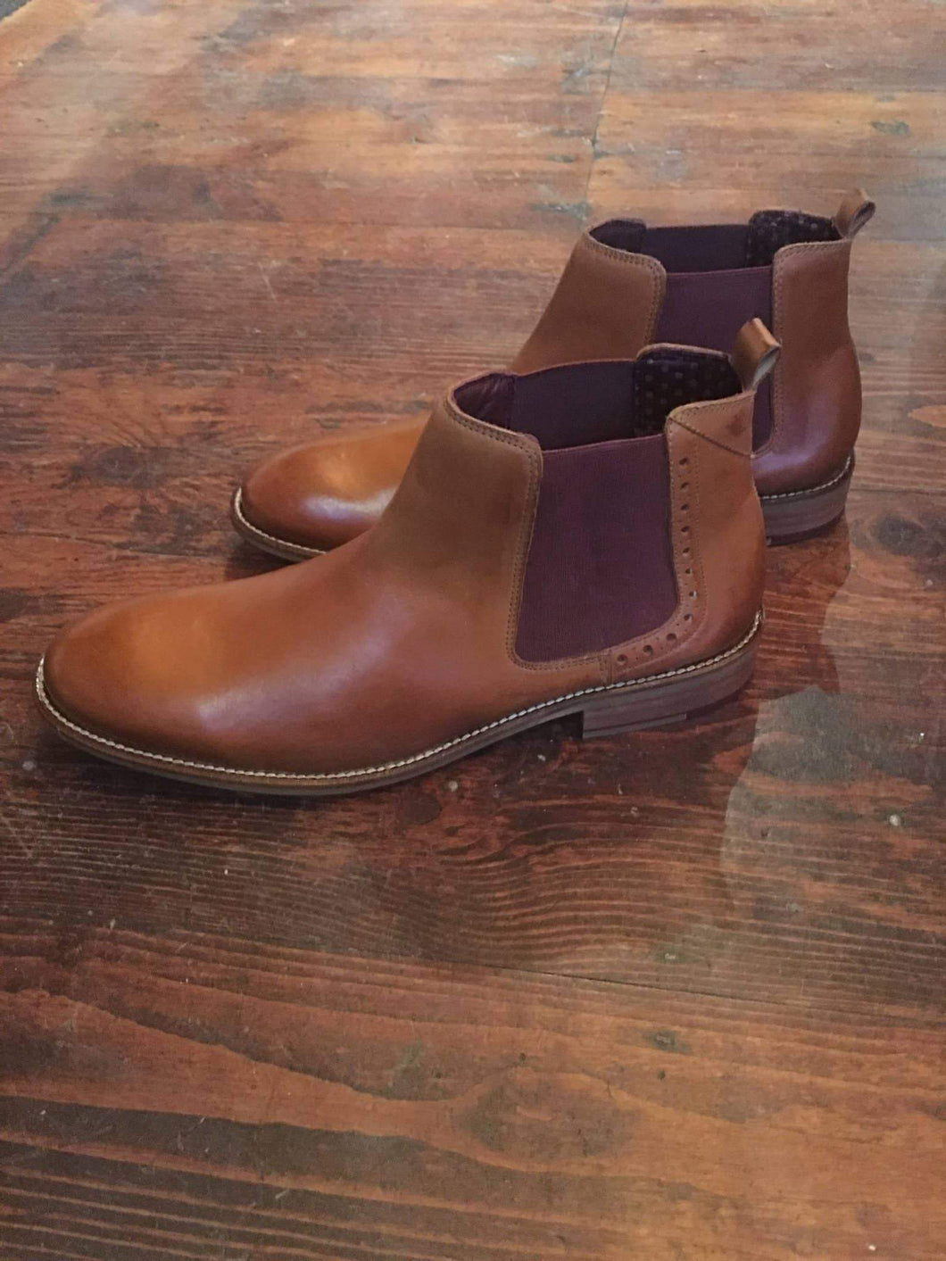 London Brogues Gatsby Tan Chelsea Boot With Hole Punch Detail 7