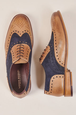 London Brogues London Brogues Gatsby Tan Leather Brogue With Navy Suede £80.00