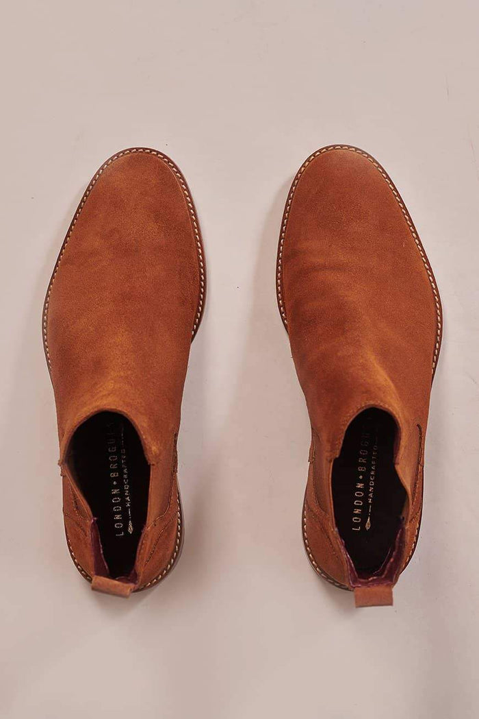 London Brogues Hamilton Tan Suede Chelsea Boots
