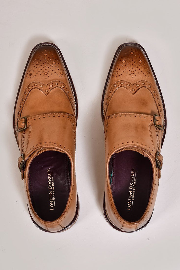 London Brogues Leonard Double Monk Strap Tan Shoes