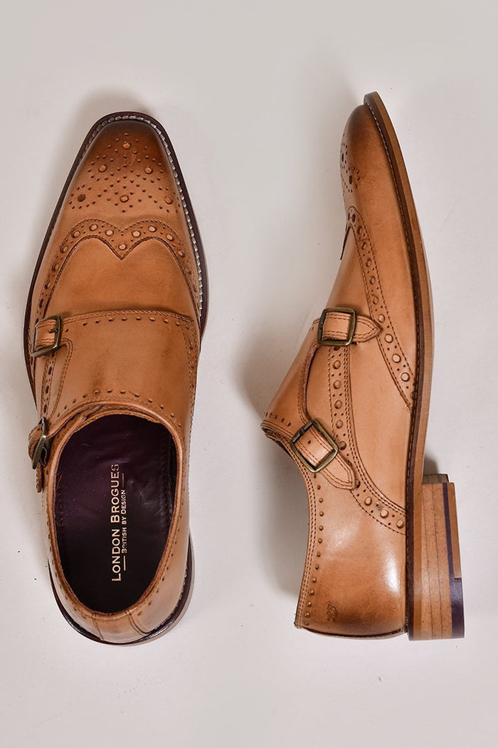 London Brogues Leonard Double Monk Strap Tan Shoes 7