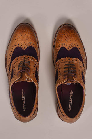 London Brogues London Brogues Watson Tan & Plum Leather Brogue £80.00
