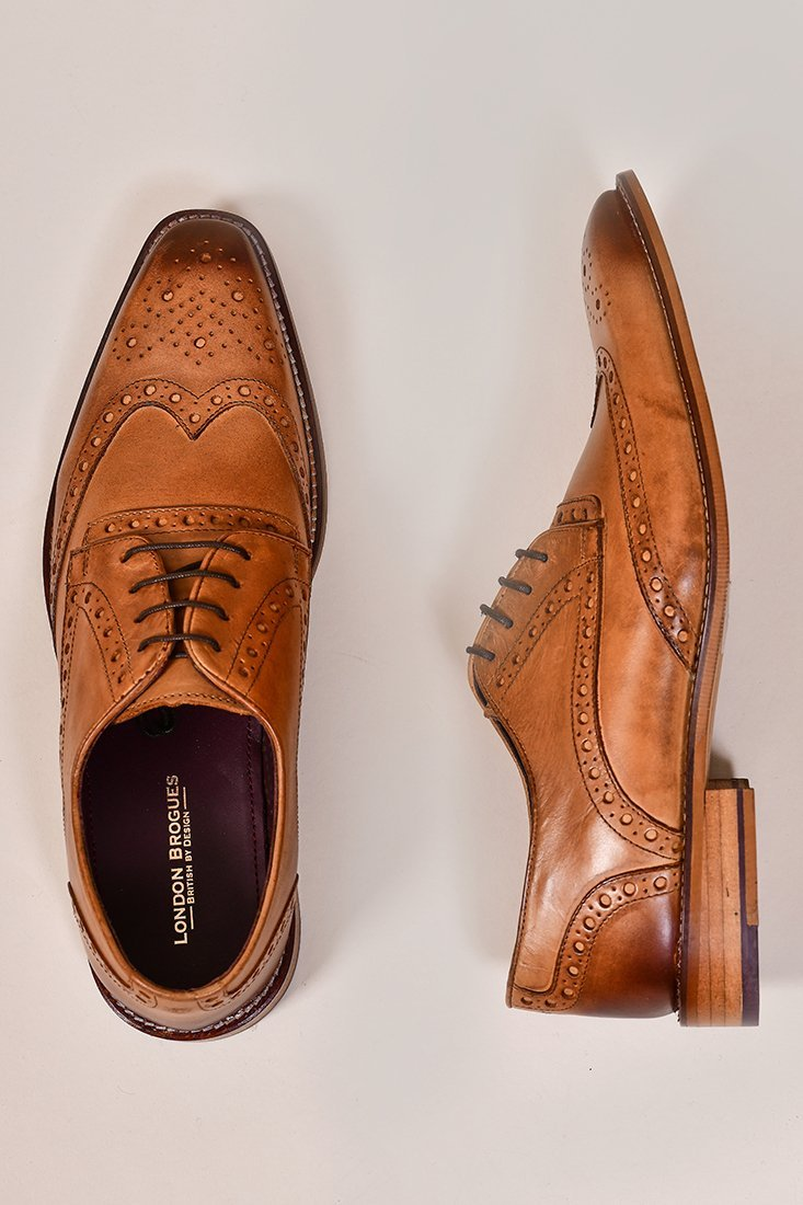 London Brogues William Derby Tan Shoes 7