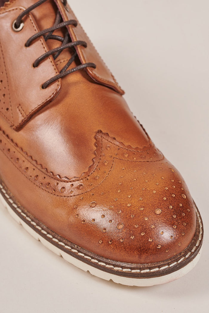 London Brogues Winston Tan Brogue With White Sole