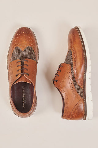London Brogues Winston Tan & Tweed Brogue With White Sole